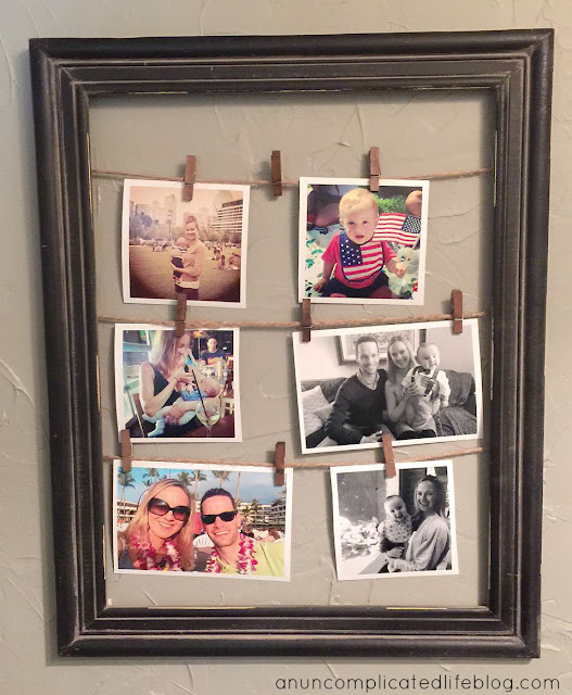 Clothes pin picture frame