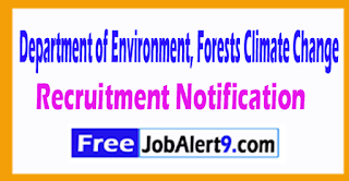 Department of Environment, Forests Climate Change Recruitment Notification 2017 Last Date 18-08-2017