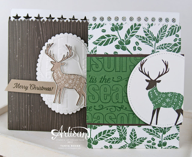 Combine these products from Stampin' Up!, and you get instant success! And intant cocoa ;) Mini Treat Bag dies, Merry Patterns stamp set, Coffee Break DSP, Woodland embossing folder, Layering Ovals dies, Stitched Shapes dies~Tanya Boser for the 2017 Artisan Design Team