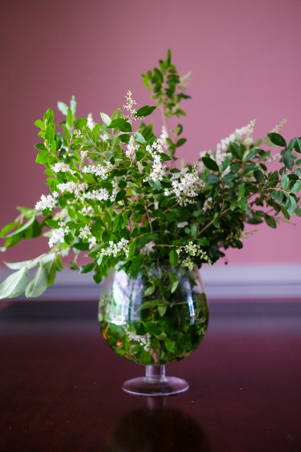 I Made A Simple Floral Arrangement With Greenery From Our Yard- design addict mom