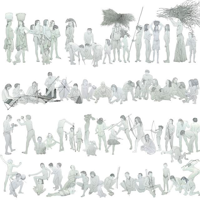 prehistoria, grupo humano, dibujo B y N