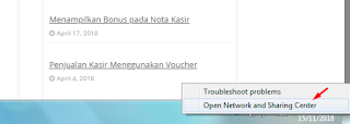 klik ikon network, pilih open network and sharing center