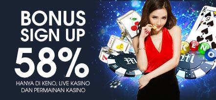 Daftar M88 Bonus 58% Main KENO, LIVE KASINO & PERMAINAN KASINO