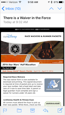 Disney Star Wars Half Marathon race running waiver in the force