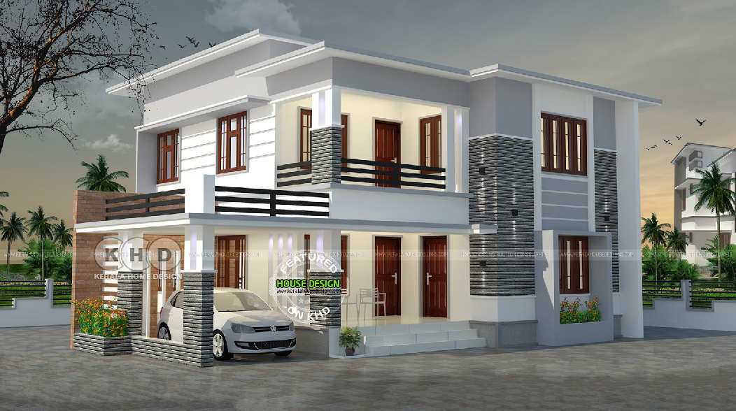 2050 square feet 4 bedroom flat roof house design concept engineering society for Concept home architecture and engineering