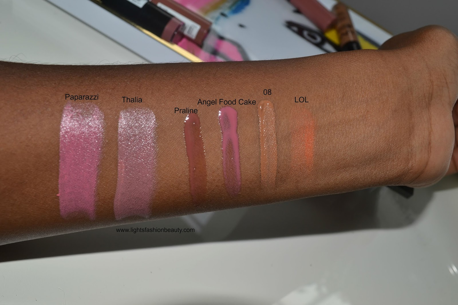nyx cosmetics butter gloss swatches dark skin, nyx cosmetics in canada, lightsfashionbeauty, lightsfashionbeauty nyx cosmetics, canadian blogger, montreal blogger,