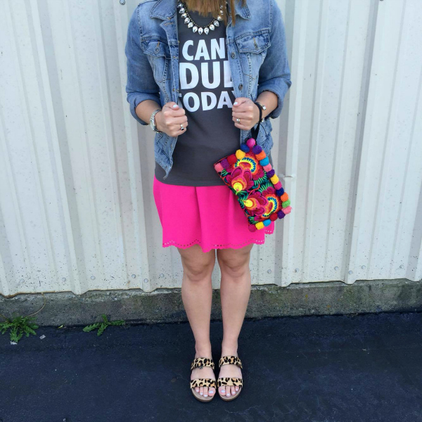 scallop skirt, spring style, denim jacket