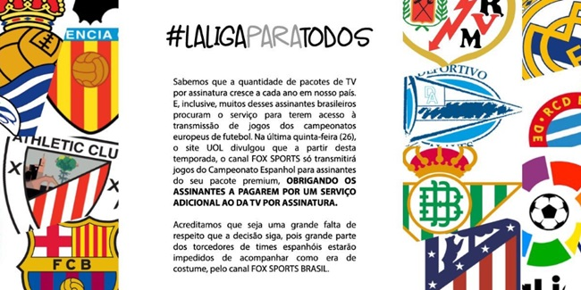LaLigaParaTodos  protesto contra Fox Sports chega aos trending topics do  Twitter 50590d571e167