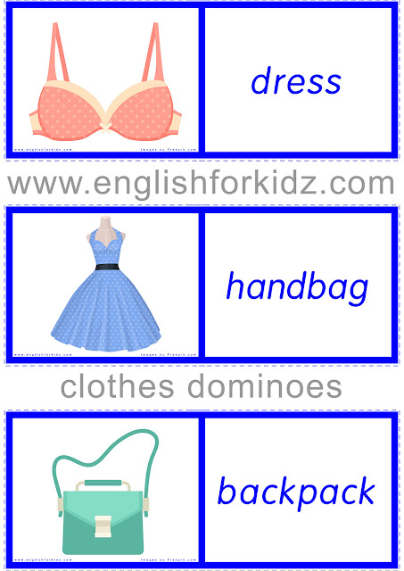Printable ESL domino game to learn clothes vocabulary