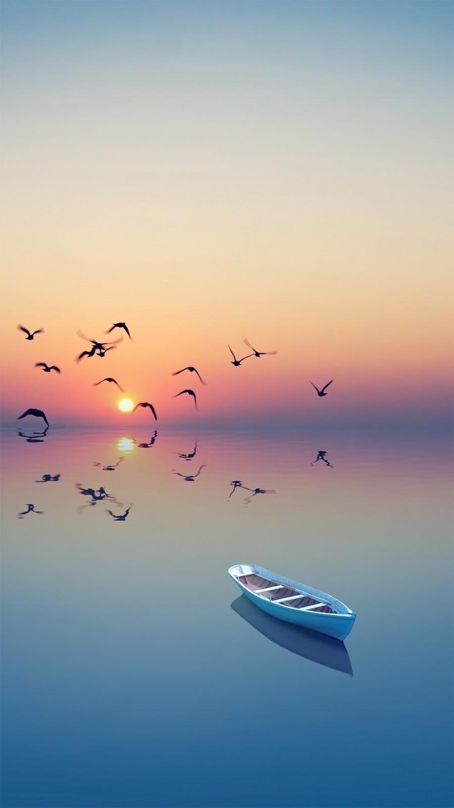 Free Wallpaper Phone: Boat Sunset Wallpaper LG G5