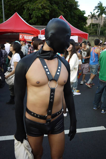 man in bondage outfit at 2011 Taiwan LGBT Pride Parade