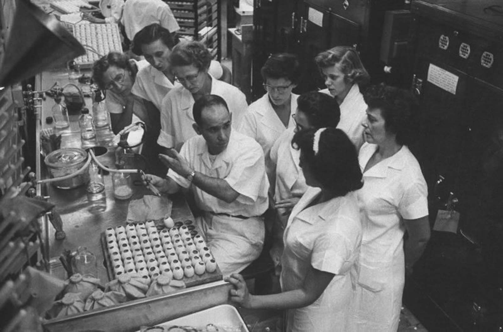Creating the flu vaccine involved injecting the virus into eggs, where it multiplied. The virus-laden embryonic fluid was then siphoned out, and the virus was killed. That purified fluid became the vaccine. In this photo Jeff Cesarone at the Merck Sharp and Dohme plant in West Point, Pa., explained the process.