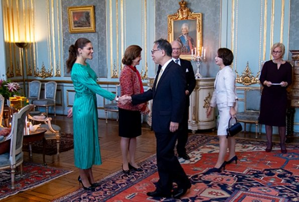 Crown Princess Victoria wore & Other Stories Striped Twist Knot Midi Dress. Queen Silvia. The Princess wore a midi dress by & Other Stories