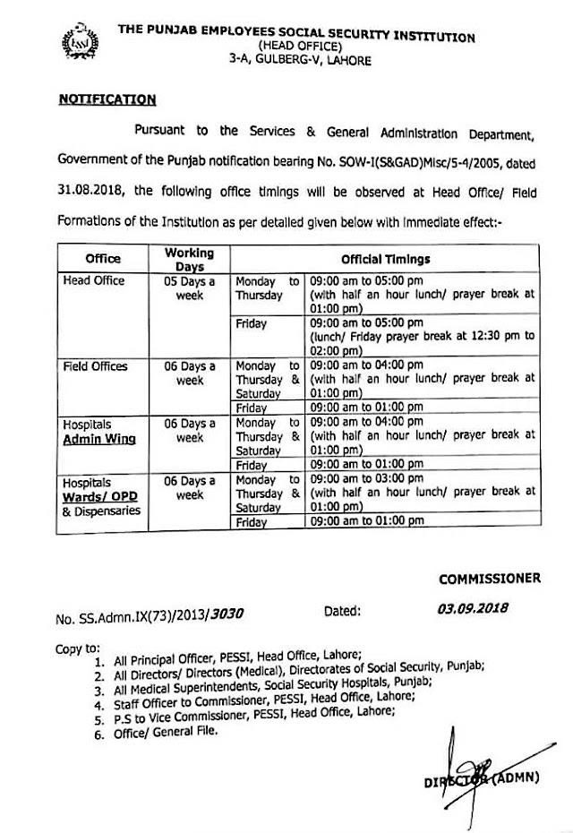 NOTIFICATION REGARDING OFFICE TIMINGS FOR THE OFFICES OF PUNJAB SOCIAL SECURITY INSTITUTION