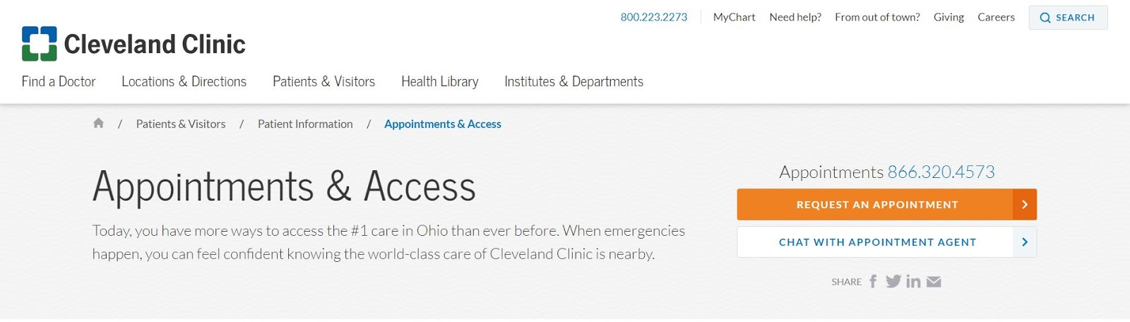 Cleveland Clinic online appointment request