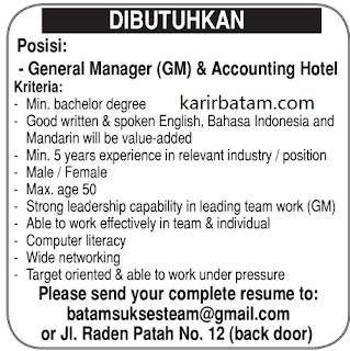 Lowongan Kerja Accounting Hotel di Batam