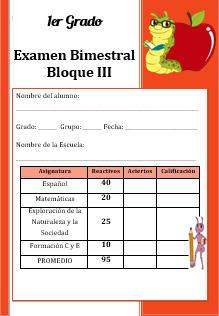 Examen del Bloque 3 Ciclo escolar 2016-2017 Primer grado