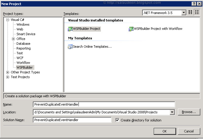 Create Event Handler for MOSS 2007 with WSP Builder