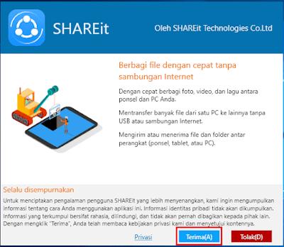 Gambar ilustrasi kebijakan privasi aplikasi SHAREit