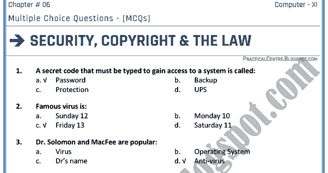 Computer Security: Multiple Choice Questions On Computer