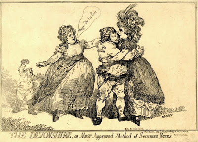 The Devonshire, or most approved method of securing votes  by Thomas Rowlandson, published by William Humphrey (1784)  © British Museum
