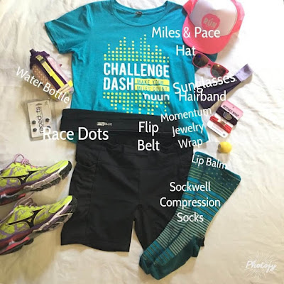 flat runner race day prep countdown socks shoes hat water