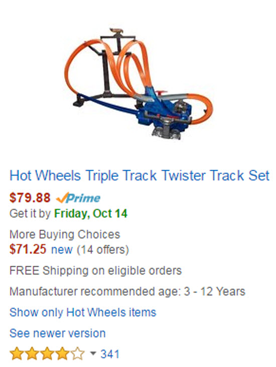 Roll over image to zoom in Hot Wheels Triple Track Twister Track Set