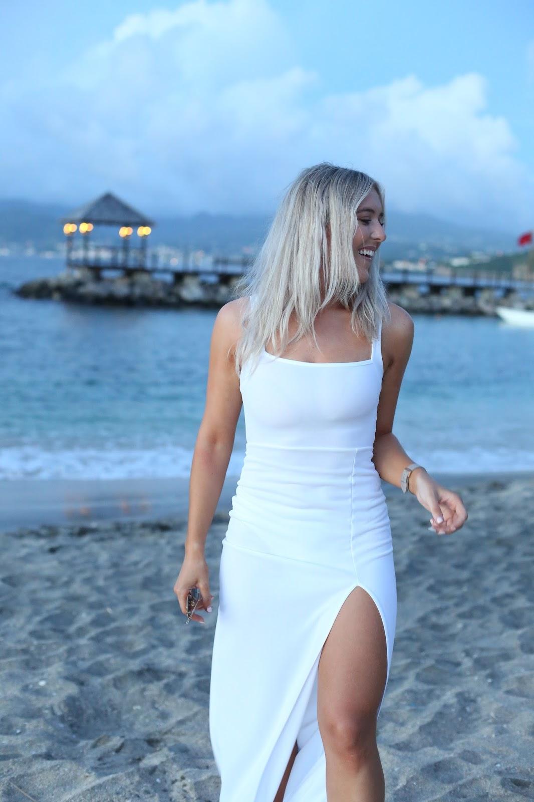 white maxi dress with split