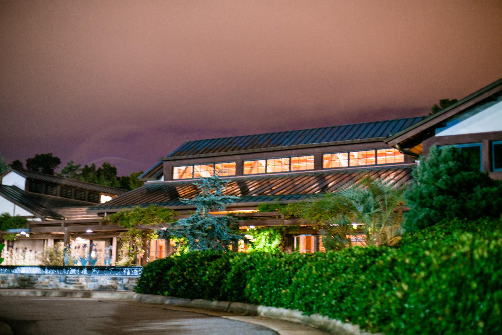 Duke gardens wedding reception venue at night