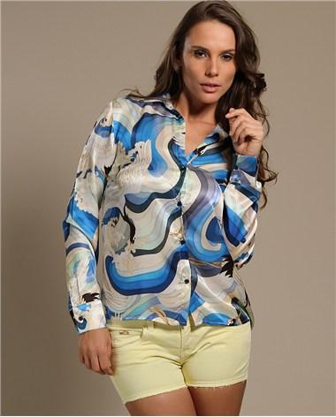 4dfb879a0 Fashion Good  Modelos de Blusas de Seda Estampada