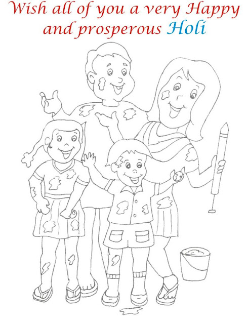 Happy Holi Colouring Page Images