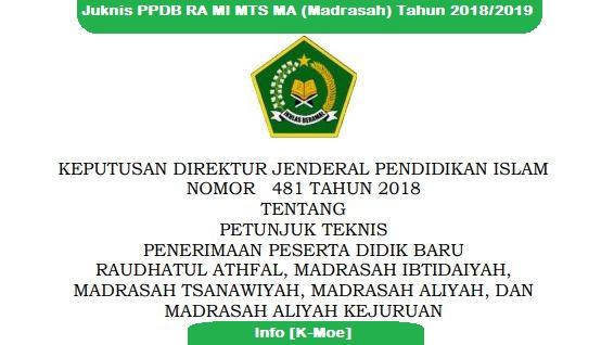 Juknis PPDB RA MI MTS MA (Madrasah) Tahun 2018/2019