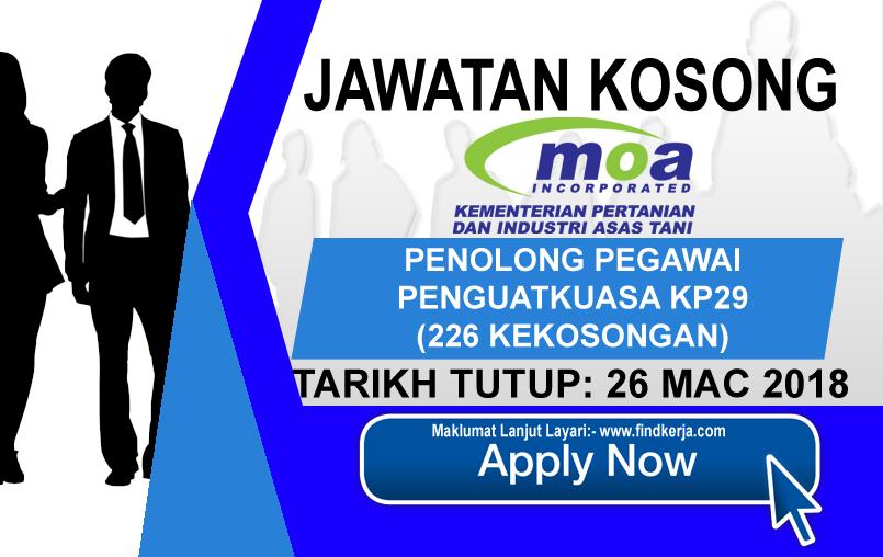 Jawatan Kerja Kosong MOA - Kementerian Pertanian dan Industri Asas Tani logo www.findkerja.ccom mac 2018