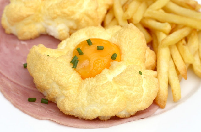 Cloud egg, ham and chips