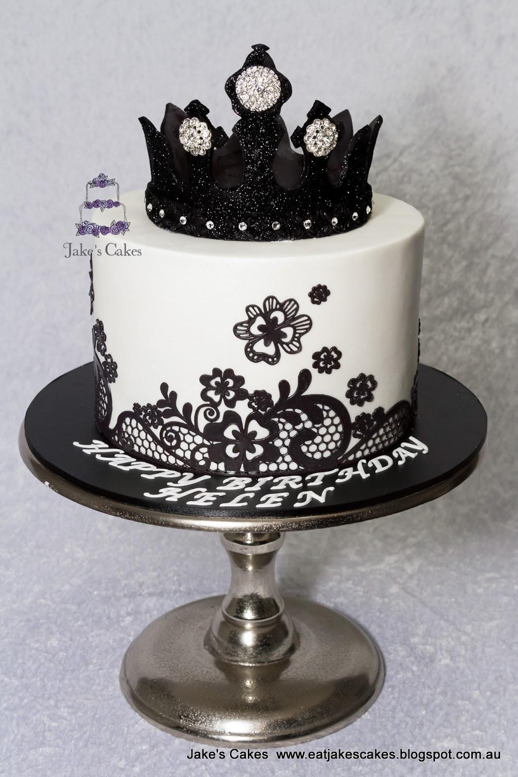 Black Bling Crown Cake Happy Birthday