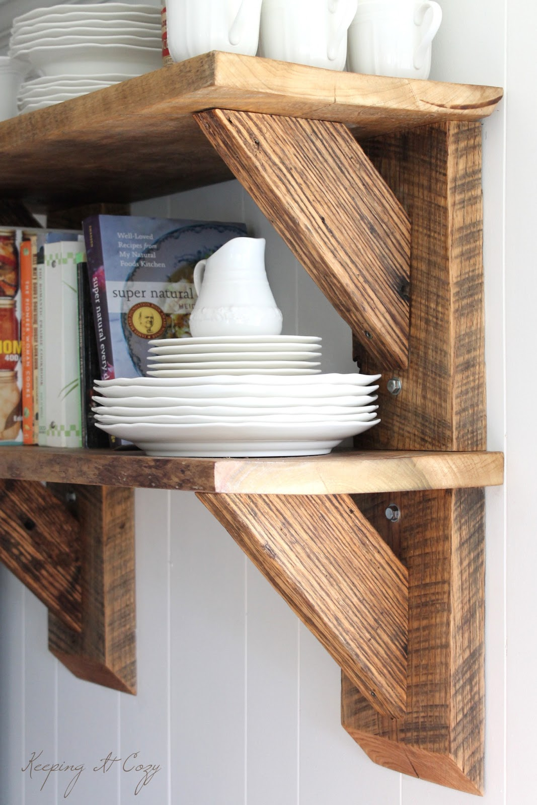 kitchen wall shelf island with trash can keeping it cozy reclaimed wood shelves