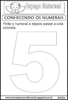 Numeral cinco para colorir