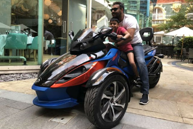 Bollywood Star Ajay Devgn Rides Three-Wheel Trike With Son, Shares Pic