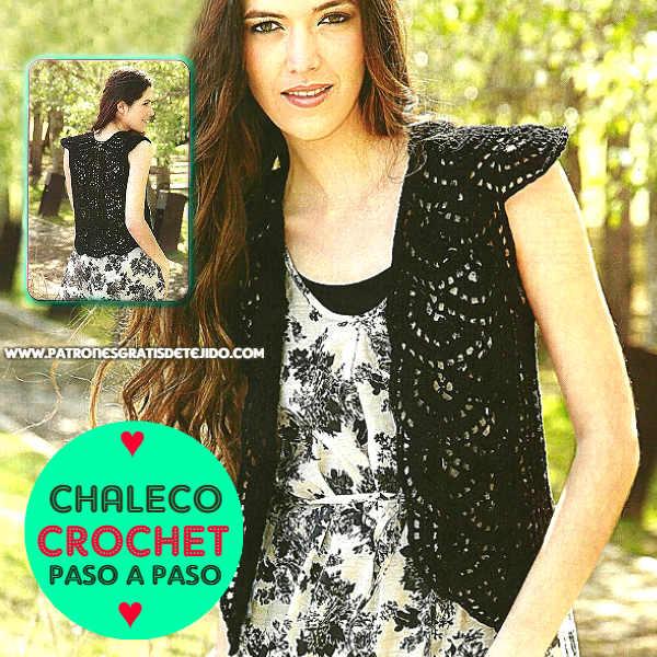 Patrones de Chaleco Encaje Crochet / Paso a paso | Crochet y Dos ...