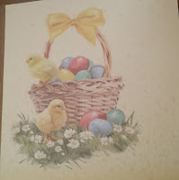 Chick in a basket of flowers - Easter card insert
