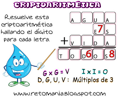 Criptoaritmética, Alfamética, Día del Agua, Criptosumas
