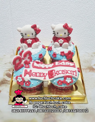 Cupcake Hello Kitty Fondant 2D dan 3D