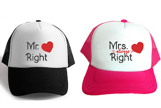 Mr Right e Mrs Always Right Boné para noiva e casamentos personalizado com bordado | Noiva e Noivo
