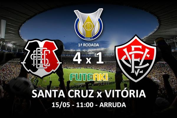 Veja o resumo da partida com os gols e os melhores momentos de Santa Cruz 4x1 Vitória pela 1ª rodada do Brasileirão 2016.