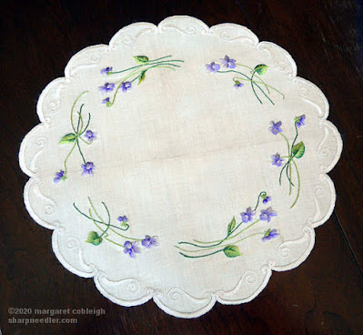Society Silk Violets: Another view of the completed Society Silk Violets Centrepiece under natrual light