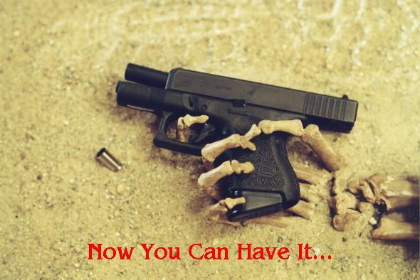 Skeleton Hand Glock Pistol 2nd amendment meme