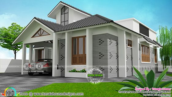 Single floor sloping roof style 1800 sq-ft