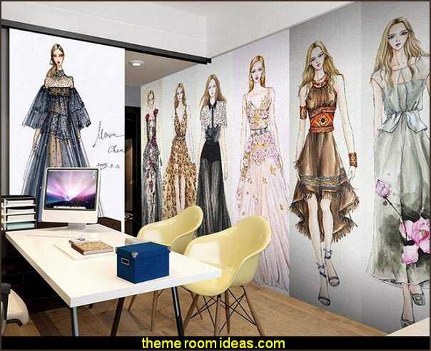 Fashion Beauty Model Patterns Murals Fashionista - Diva Style bedroom decorating - runway theme bedroom ideas - shoe decor - Fashion Diva bedroom ideas - Fashionista Runway bedroom decorating -  Boutique Decor - girls boutique theme bedroom ideas - fashion artwork - Paris  fashionista bathroom decor -  shopping boutique style playroom -  chanel wall decal stickers