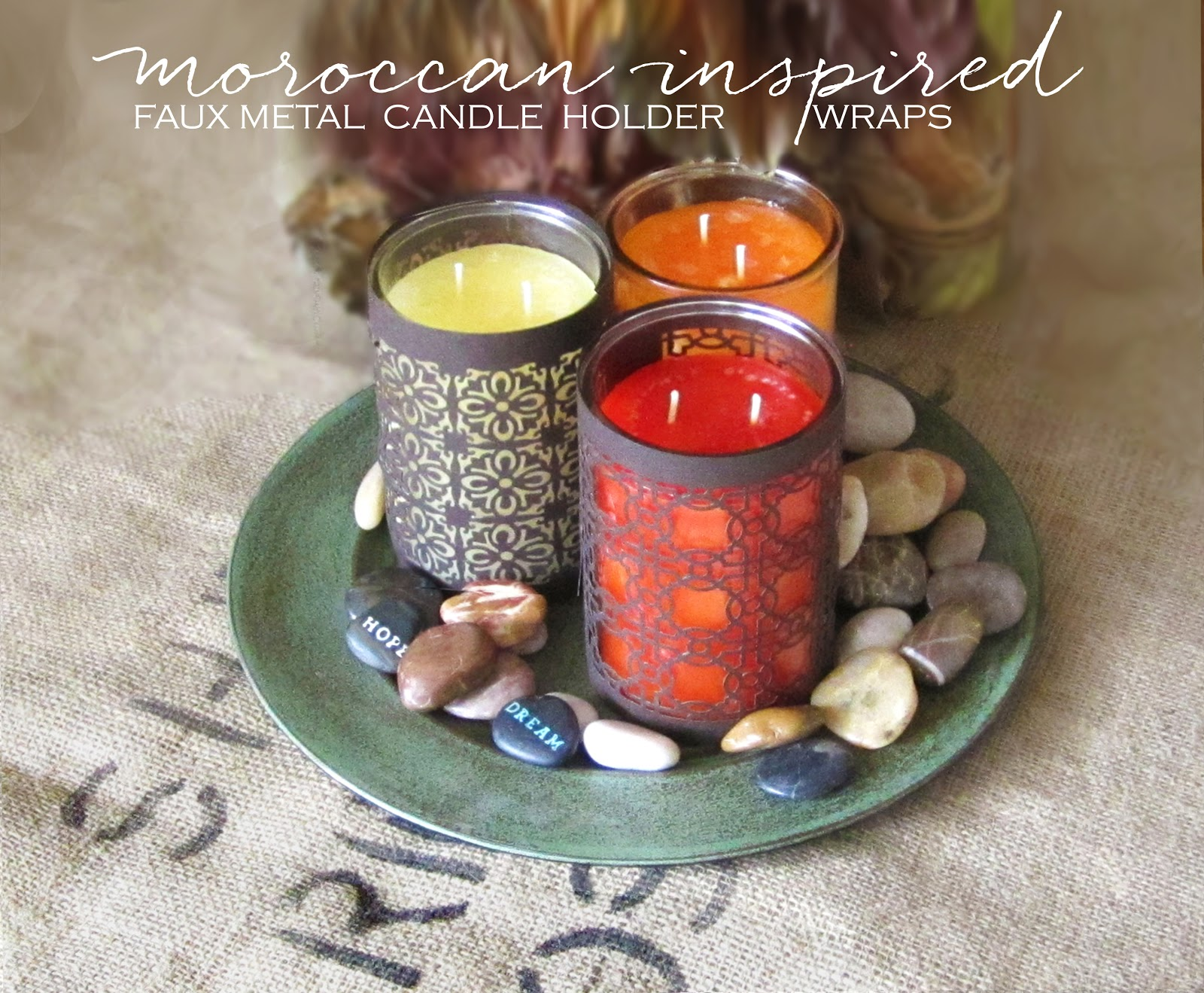 quatrefoil moroccan metal pattern candle wrap holder