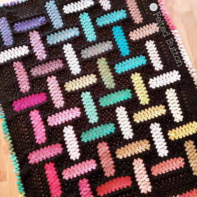 Warp and Weft Blanket {Free Crochet Pattern} by Susan Carlson of Felted Button using Scheepjes Stonewashed, Riverwashed and Colour Crafter